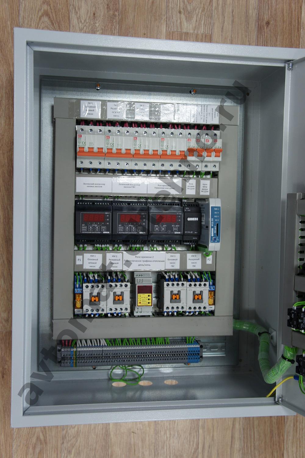 Начинка щита управления  расположение приборов автоматики ОВЕН внутри щита