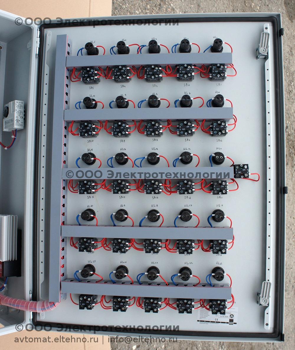 Монтаж элементов управления на двери щита 1 автоматизации ГНС