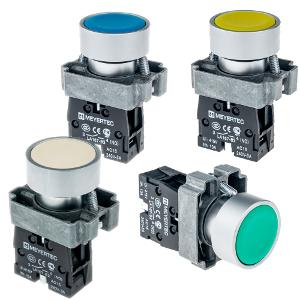 MTB2-BAZ111, MTB2-BAZ112, MTB2-BAZ113, MTB2-BAZ124, MTB2-BAZ115, MTB2-BAZ116 кнопки с плоским толкателем и пружинным возвратом Meyertec