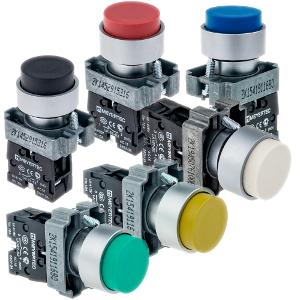 MTB2-BLZ111, MTB2-BLZ112, MTB2-BLZ113, MTB2-BLZ124, MTB2-BLZ115, MTB2-BLZ116 кнопки с выступающим толкателем и пружинным возвратом Meyertec