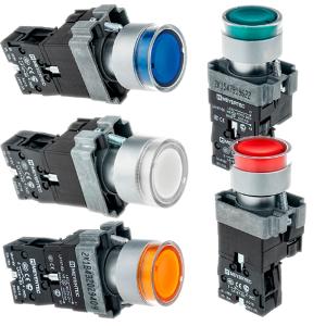 MTB2-BW3161, MTB2-BW3361, MTB2-BW3461, MTB2-BW3561, MTB2-BW3661, MTB2-BW3163, MTB2-BW3363, MTB2-BW3463, MTB2-BW3563, MTB2-BW3663 кнопки с LED подсветкой с пружинным возвратом Meyertec