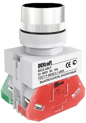 ВК22-ABLF-BLK кнопочный выключатель Dekraft