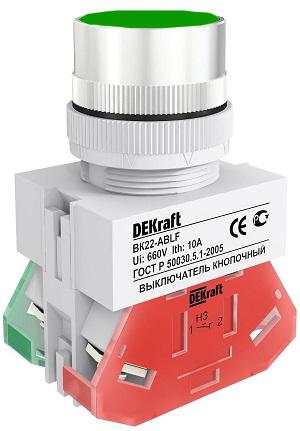 ВК22-ABLF-GRN кнопочный выключатель Dekraft