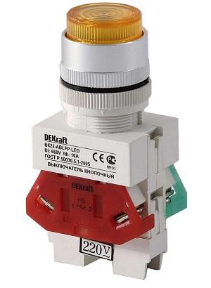 ВК22-ABLFP-YEL-LED кнопочный выключатель Dekraft