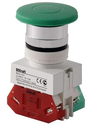 ВК22-AEA-GRN кнопочный выключатель Dekraft