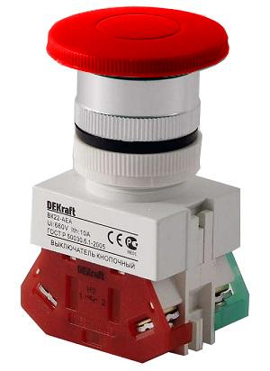 ВК22-AEA-RED кнопочный выключатель Dekraft