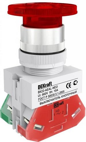 ВК22-AEAL-RED-NEO кнопочный выключатель Dekraft