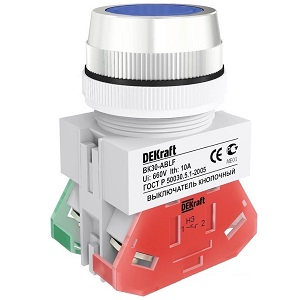 ВК30-ABLF-BLU кнопочный выключатель синий потайной без индикации Dekraft