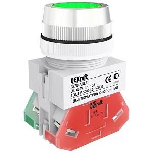 ВК30-ABLF-GRN выключатель кнопочный зелёный потайной без индикации Dekraft