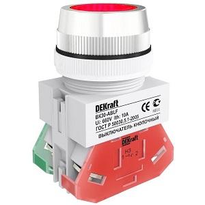 ВК30-ABLF-RED выключатель кнопочный красный потайной без индикации Dekraft