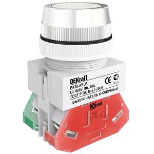 ВК30-ABLF-WHI выключатель кнопочный белый потайной без индикации Dekraft
