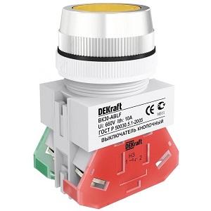 ВК30-ABLF-YEL выключатель кнопочный жёлтый потайной без индикации Dekraft