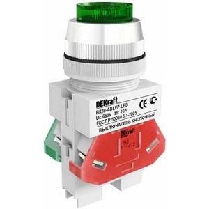 ВК30-ABLFP-GRN-LED выключатель кнопочный зелёный выступающий LED Dekraft