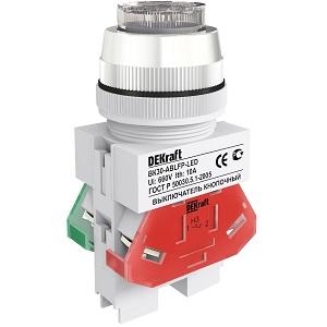 ВК30-ABLFP-WHI-LED выключатель кнопочный белый выступающий LED Dekraft