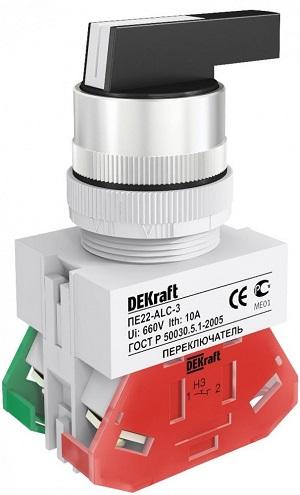 ПЕ22-ALC-2-BLK переключатель с удлинённой ручкой без индикации Dekraft