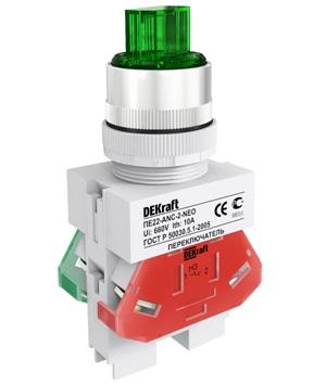 ПЕ22-ANC-2-GRN-NEO переключатель со стандартной ручкой и неоновой лампой Dekraft