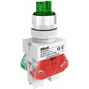 ПЕ22-ANC-2-GRNLED-24 переключатель со стандартной ручкой и неоновой лампой Dekraft