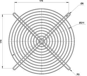 VENT-250.MG Kippribor металлическая вентиляционная решётка для вентиляторов VENT-20872, VENT-22580 и VENT-25490